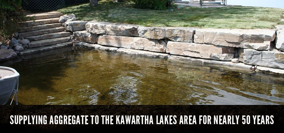 SUPPLYING AGGREGATE TO THE KAWARTHA LAKES AREA FOR NEARLY 50 YEARS, close up of lake side